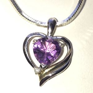 Jewelry - Amethyst heart necklace with diamond accent.